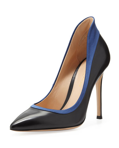 Gianvito Rossi Raised-Back Satin-Collar Calfskin Pump, Black/Navy