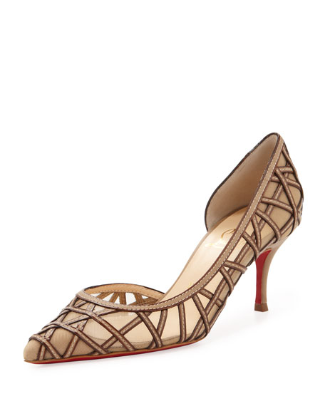 St. Honore Mid-Heel Red Sole Pump, Beige/Nude