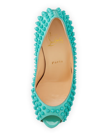 Vendome Spikes Patent Platform Red Sole Pump, Aquamarine