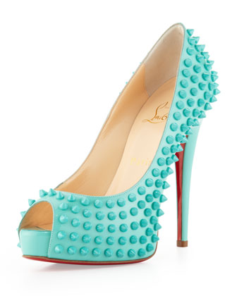 Sale alerts for Christian Louboutin Vendome Spikes Patent Platform Red Sole Pump, Aquamarine - Covvet
