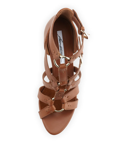 Strappy Leather Sandal, Brown