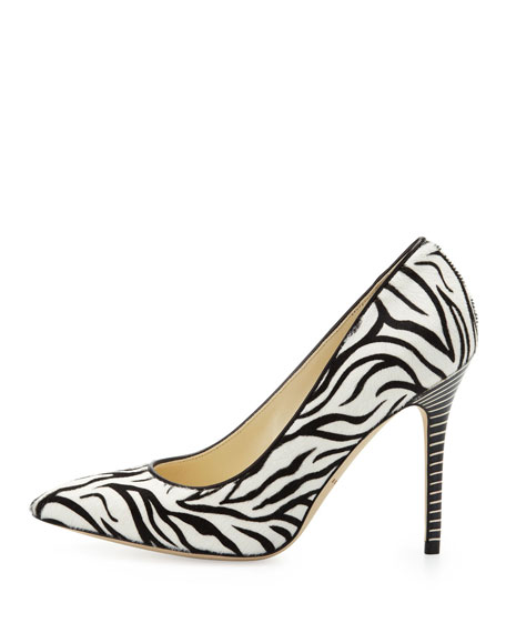 Zebra Calf-Hair Point-Toe Pump