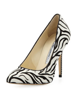 Brian Atwood Zebra Calf-Hair Point-Toe Pump