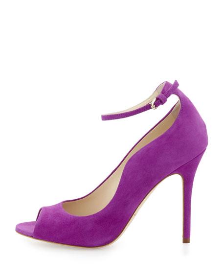 Open-Toe Ankle-Wrap Suede Pump, Purple
