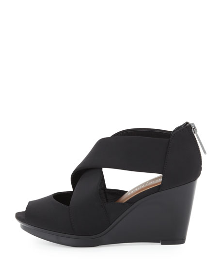 Apollo Crisscross Wedge Sandal, Black