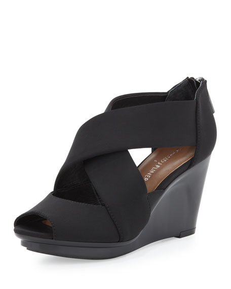 Apollo Crisscross Wedge Sandal, Black