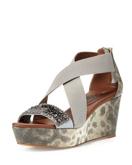 Donald J Pliner Farra Embellished Wedge Sandal, Natural