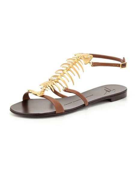 Fish Bone Flat Sandal, Brown/Gold