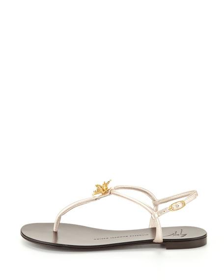 Jeweled Metallic Thong Sandal, Gray