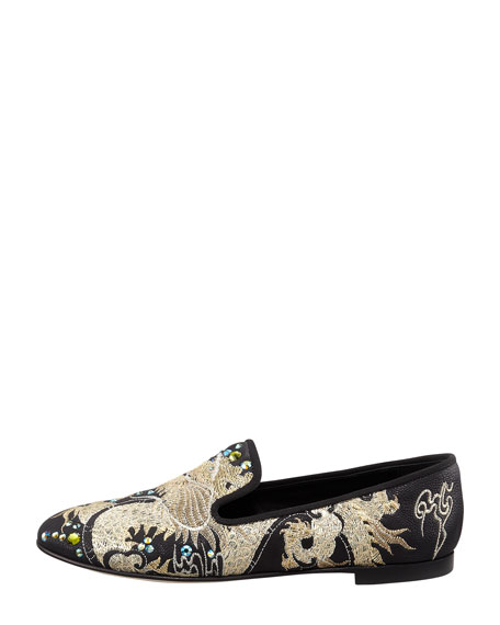 Embroidered Crystal Dragon Loafer, Black