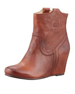 Frye Carson Leather Wedge Bootie, Cognac
