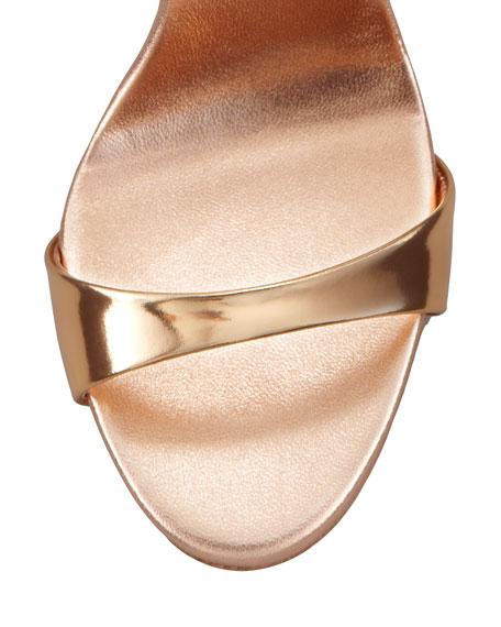 Big-Buckle Ankle-Wrap High-Heel Sandal, Copper
