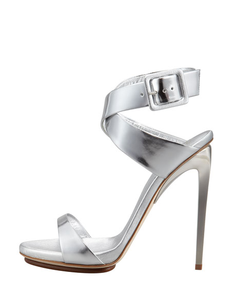 Big-Buckle Ankle-Wrap High-Heel Sandal, Silver