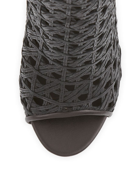 Open-Toe Woven Leather Ankle Boot, Black
