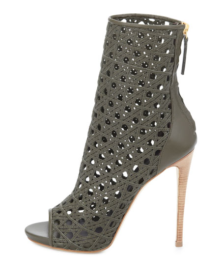Open-Toe Woven Leather Ankle Boot, Army Green