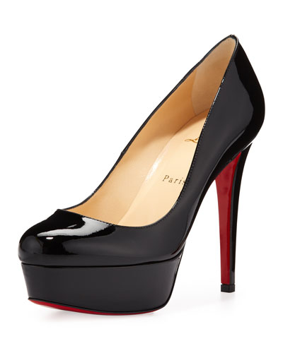 christian louboutin patent leather platform pump Black round toes ...