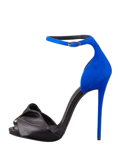 Giuseppe Zanotti Safety Pin Leather & Suede Sandal, Black/Blue