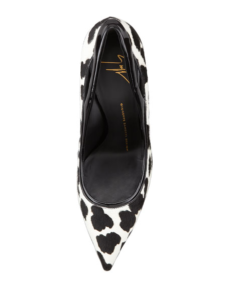 Spotted Calf Hair Pump, Black/White