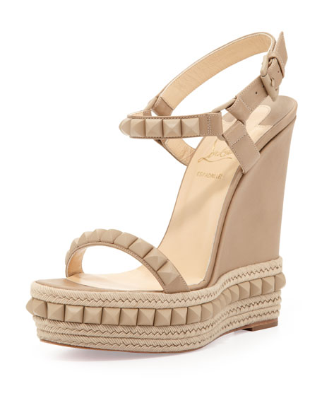 Cataclou Red-Sole Espadrille Sandal, Beige