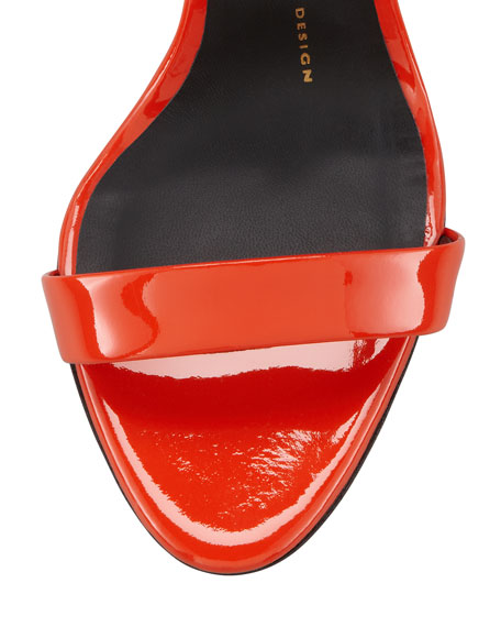 Patent Leather Cage-Back Sandal, Orange
