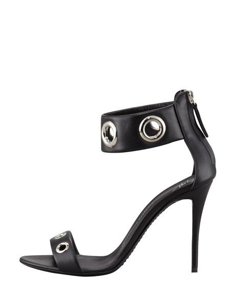 Eyelet Ankle-Wrap Leather Sandal, Black