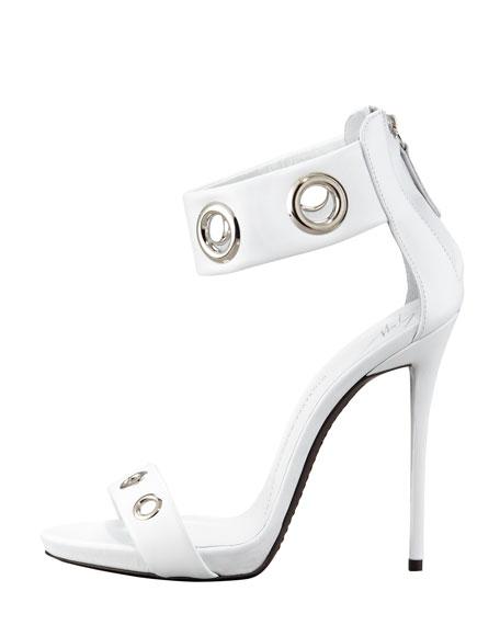Eyelet Ankle-Wrap Leather Sandal, White