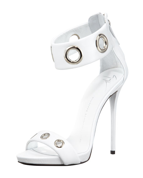 Eyelet Ankle-Wrap Leather Sandal, White