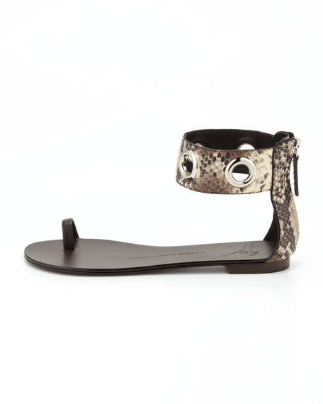 Snake-Print Ankle Wrap Sandal, Natural