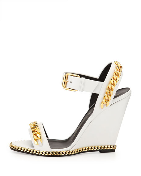 Chain Link Leather Wedge Sandal, White
