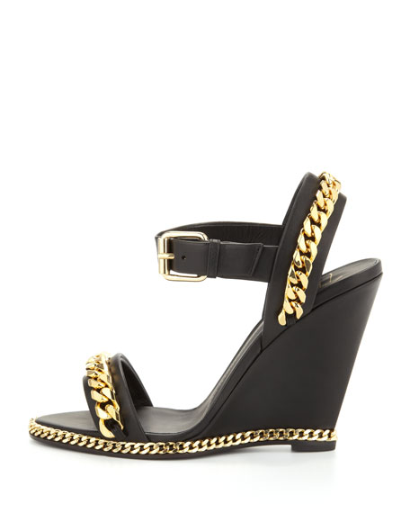 Chain Link Leather Wedge Sandal, Black