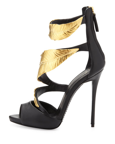 Strappy Sandal with Gold Leaves