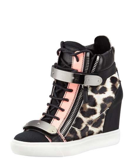 Leopard-Print Calf Hair Wedge Sneaker, Black/Pink