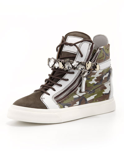 Giuseppe Zanotti High-Top Camo Sneaker with Jewel Strap, Gray/Green