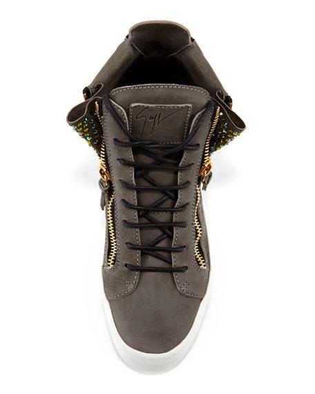 High-Top Crystal Zip Sneaker, Gray