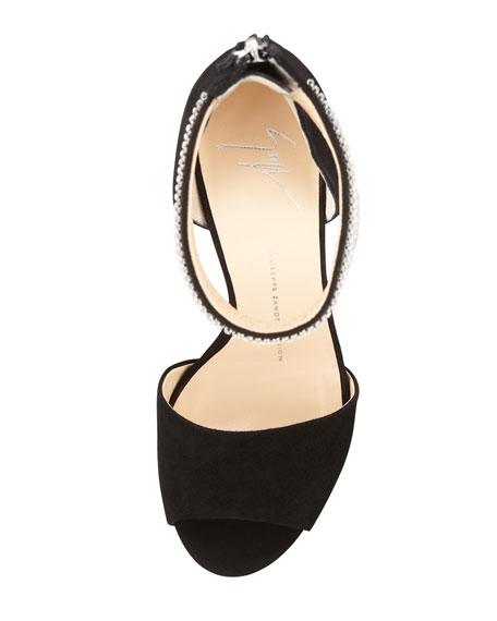 Suede Crystal-Cuff Sandal, Black