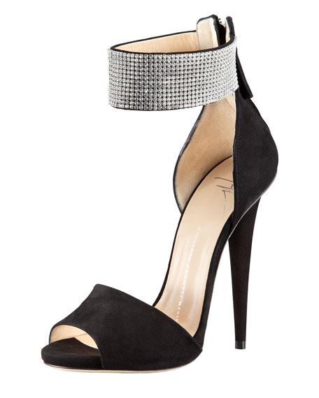 Giuseppe Zanotti Suede Crystal-Cuff Sandal, Black