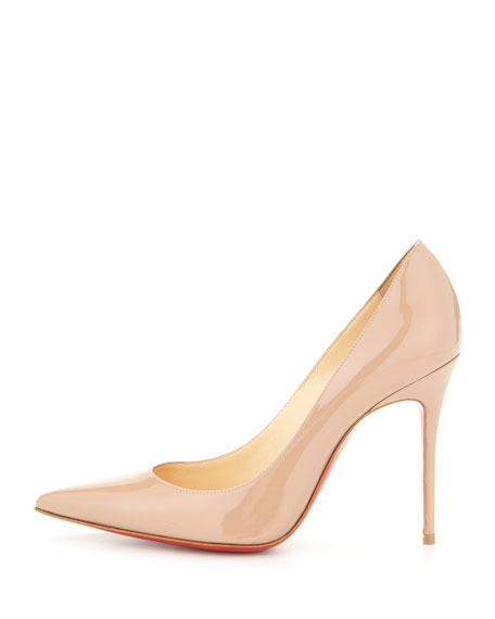 Decollete Patent Leather Red Sole Pump, Nude