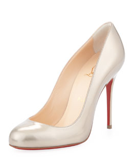 Christian Louboutin Fifi Metallic Leather Red Sole Pump, Beige/Gold