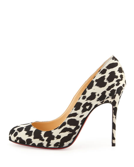 quality design 66d46 8f421 Fifi Leopard-Print Crepe Red Sole Pump