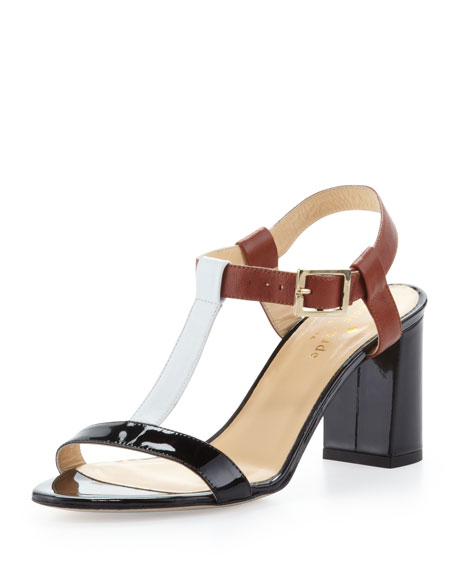 aisha colorblock t-strap sandal, luggage/black/white