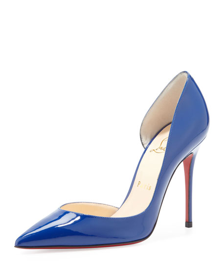 Christian Louboutin Iriza Patent Pointy Red Sole d'Orsay Pump, Neptune