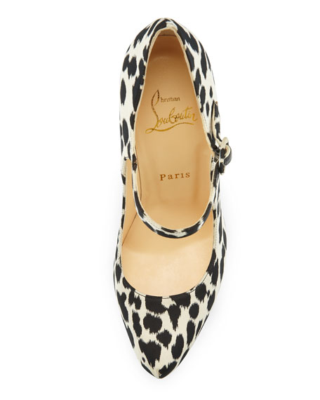 Lady Daf Leopard Mary Jane Red Sole Pump