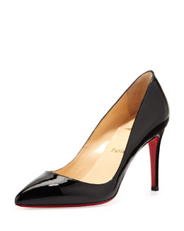 Christian Louboutin Pigalle Patent Red Sole Pump, Black