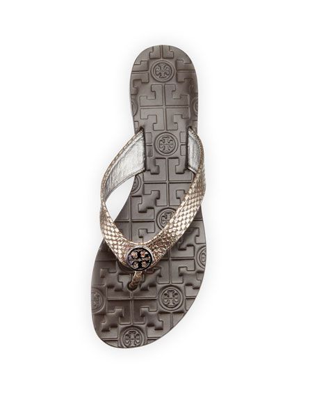 Thora Leather Snake-Print Thong Sandal, Pewter