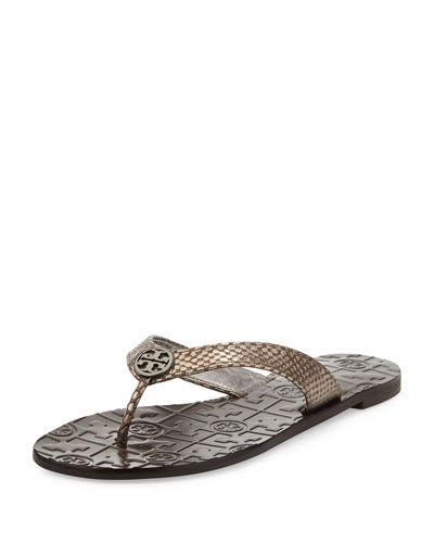 Tory Burch Thora Leather Snake-Print Thong Sandal, Pewter