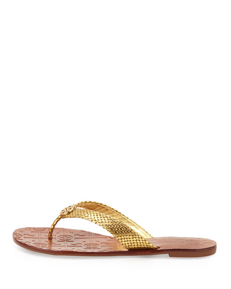 Thora Logo Thong Sandal, Gold