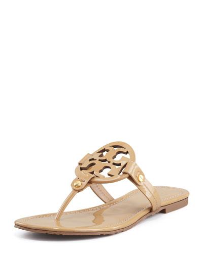 Tory Burch Miller Patent Logo Thong Sandal, Sand