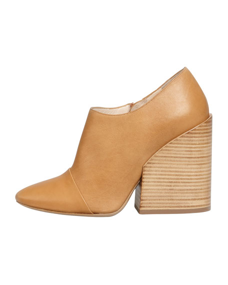 Wide-Heeled Pointy Bootie, Tan