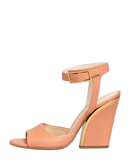 Thick-Heeled Ankle-Wrap Sandal, Coral Reef