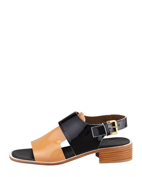 Patent Low-Heel Sandal, Brown/Black